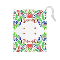 Holiday Festive Background With Space For Writing Drawstring Pouches (Large)