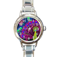 Peacock Abstract Digital Art Round Italian Charm Watch