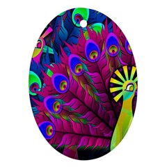Peacock Abstract Digital Art Ornament (Oval)