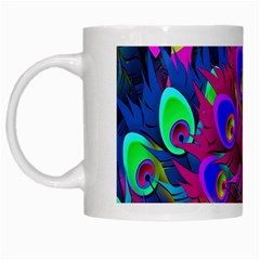 Peacock Abstract Digital Art White Mugs