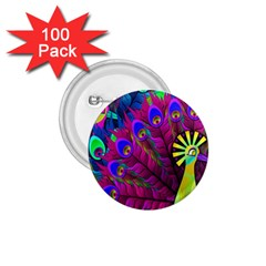 Peacock Abstract Digital Art 1.75  Buttons (100 pack)
