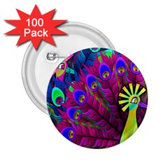 Peacock Abstract Digital Art 2.25  Buttons (100 pack)