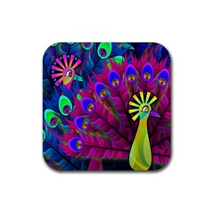 Peacock Abstract Digital Art Rubber Square Coaster (4 pack)