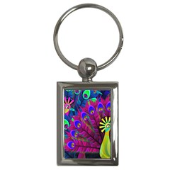Peacock Abstract Digital Art Key Chains (Rectangle)
