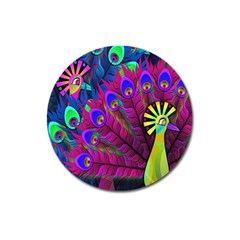 Peacock Abstract Digital Art Magnet 3  (Round)