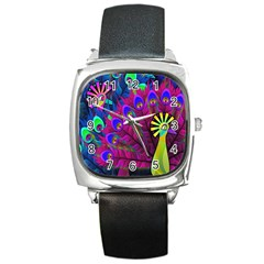 Peacock Abstract Digital Art Square Metal Watch