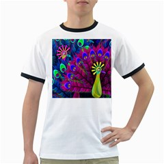 Peacock Abstract Digital Art Ringer T-Shirts