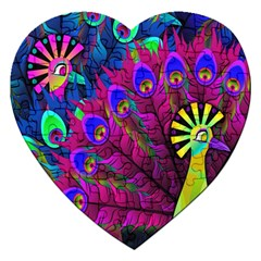 Peacock Abstract Digital Art Jigsaw Puzzle (heart)
