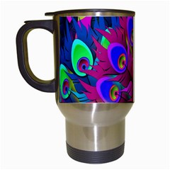 Peacock Abstract Digital Art Travel Mugs (White)