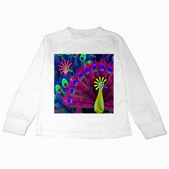 Peacock Abstract Digital Art Kids Long Sleeve T-Shirts