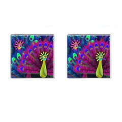 Peacock Abstract Digital Art Cufflinks (square)