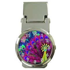 Peacock Abstract Digital Art Money Clip Watches