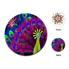 Peacock Abstract Digital Art Playing Cards (Round)