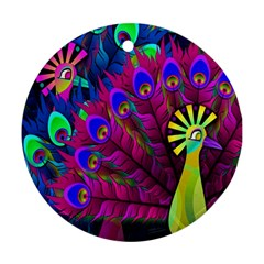 Peacock Abstract Digital Art Round Ornament (Two Sides)