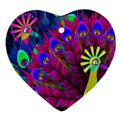 Peacock Abstract Digital Art Heart Ornament (two Sides)