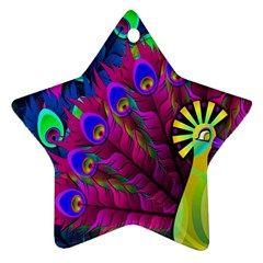Peacock Abstract Digital Art Star Ornament (Two Sides)