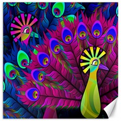 Peacock Abstract Digital Art Canvas 16  x 16