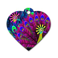 Peacock Abstract Digital Art Dog Tag Heart (One Side)
