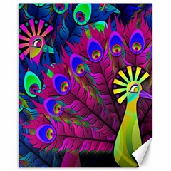 Peacock Abstract Digital Art Canvas 11  X 14