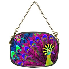 Peacock Abstract Digital Art Chain Purses (two Sides)