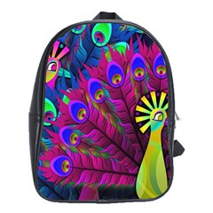 Peacock Abstract Digital Art School Bags(Large)