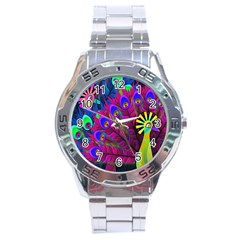 Peacock Abstract Digital Art Stainless Steel Analogue Watch