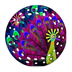 Peacock Abstract Digital Art Round Filigree Ornament (two Sides)