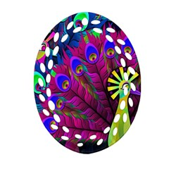 Peacock Abstract Digital Art Ornament (oval Filigree)