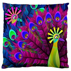 Peacock Abstract Digital Art Large Cushion Case (two Sides)
