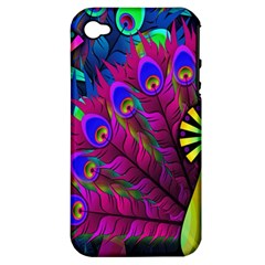 Peacock Abstract Digital Art Apple Iphone 4/4s Hardshell Case (pc+silicone)