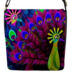 Peacock Abstract Digital Art Flap Messenger Bag (S)