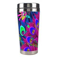 Peacock Abstract Digital Art Stainless Steel Travel Tumblers