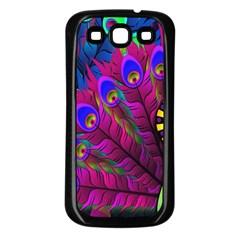 Peacock Abstract Digital Art Samsung Galaxy S3 Back Case (black)