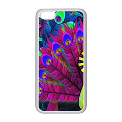 Peacock Abstract Digital Art Apple iPhone 5C Seamless Case (White)