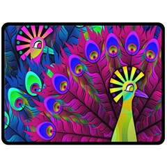 Peacock Abstract Digital Art Double Sided Fleece Blanket (Large)