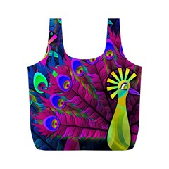 Peacock Abstract Digital Art Full Print Recycle Bags (m)