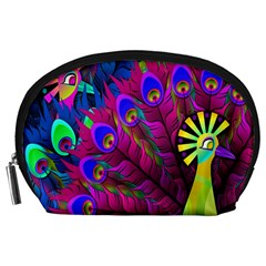 Peacock Abstract Digital Art Accessory Pouches (large)
