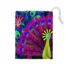 Peacock Abstract Digital Art Drawstring Pouches (Large)
