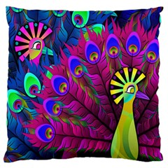 Peacock Abstract Digital Art Large Flano Cushion Case (one Side)