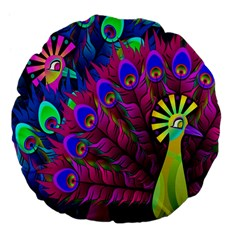Peacock Abstract Digital Art Large 18  Premium Flano Round Cushions