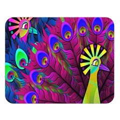 Peacock Abstract Digital Art Double Sided Flano Blanket (large)
