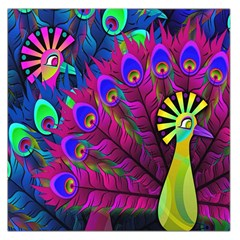 Peacock Abstract Digital Art Large Satin Scarf (square)