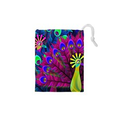 Peacock Abstract Digital Art Drawstring Pouches (xs)