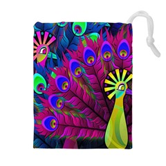 Peacock Abstract Digital Art Drawstring Pouches (Extra Large)