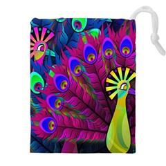 Peacock Abstract Digital Art Drawstring Pouches (XXL)