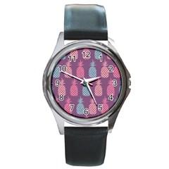 Pineapple Pattern  Round Metal Watch