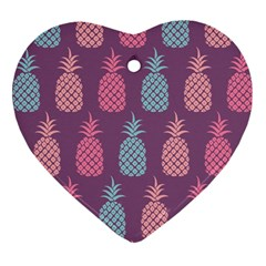 Pineapple Pattern  Heart Ornament (Two Sides)
