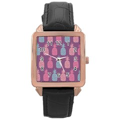 Pineapple Pattern  Rose Gold Leather Watch