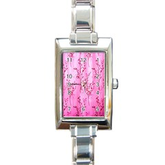 Pink Curtains Background Rectangle Italian Charm Watch