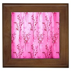 Pink Curtains Background Framed Tiles